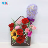 Envelope Flower Box with 5'' Personalised Confetti Balloon bloop-balloons.myshopify.com