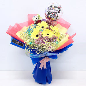 [LARGE BOUQUET] 5'' Led Personalised Balloon with Foil Balloon Flower Bouquet bloop-balloons.myshopify.com