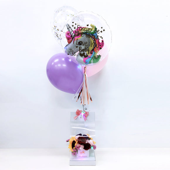 Unicorn Led Personalised Balloon Flower Handbag bloop-balloons.myshopify.com