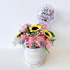 5''Personalised Balloon Bird Nest Flower Box - Get Well Soon