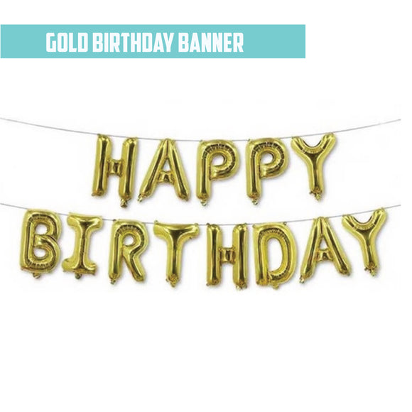 16 Inch Happy Birthday Foil - ( Gold Airfilled Only ) bloop-balloons.myshopify.com