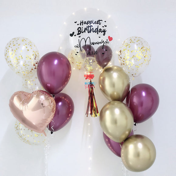 24'' personalised birthday balloon with 2 side bundle of 6 balloons