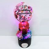 5'' Personalised Led Balloon With 3 Roses and Baby Breath Mini Flower Box