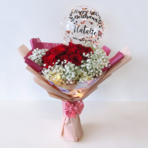 [LARGE] 9'' Led Personalised Balloon with 18 Roses Flower Bouquet