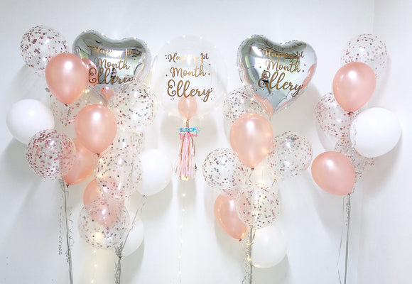 1 x 24'' personalised balloon with 4 side bouquets