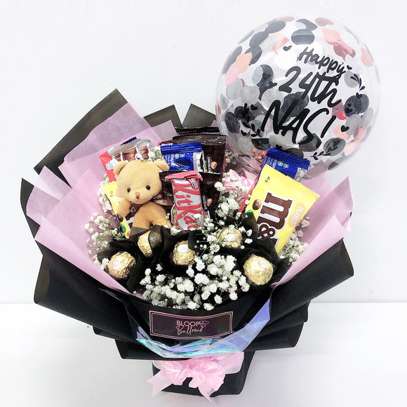 [MEDIUM BOUQUET] 5'' Personalised Balloon with Chocolate and Medium Flower Bouquet