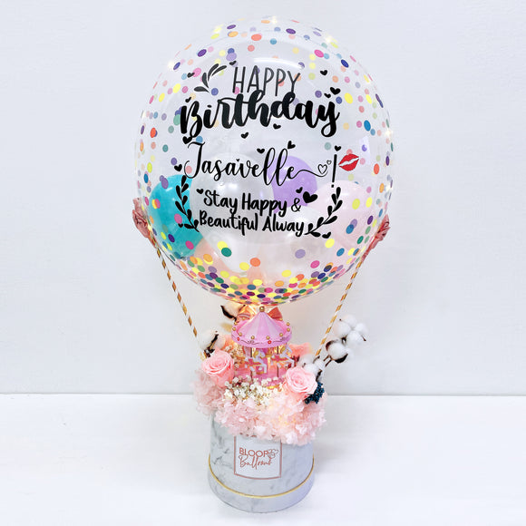 24 ''Personalised Hot Air Balloon Carousel Musical Flower Box