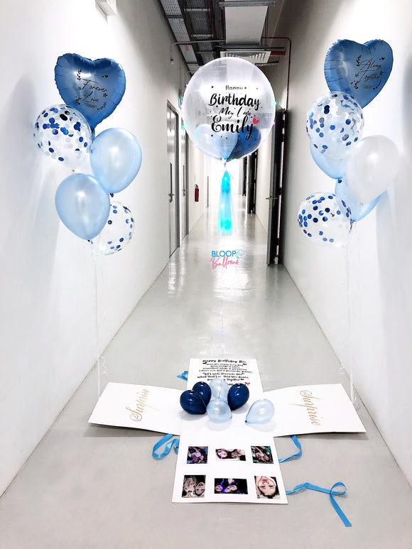Surprise Box with 24'' Personalised Balloon , 6 Photos and Wording On Box   +    2 Bouquets of 6 Balloons
