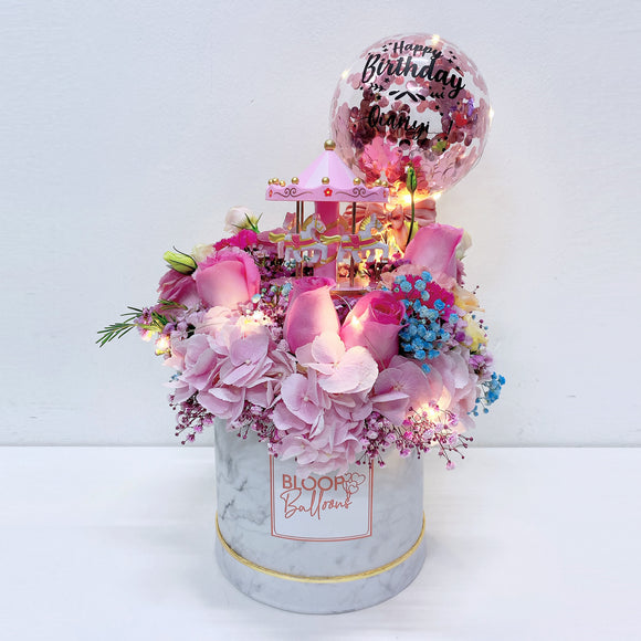 Carousel Music Box - 5''Personalised Balloon Premium Flower Box