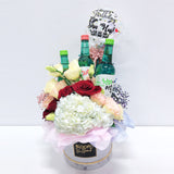 5''Personalised Balloon Premium Flower Box with 3 Soju Bottles