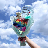 [MEDIUM BOUQUET] 5'' Personalised Balloon Full Baby Breath Flower Bouquet