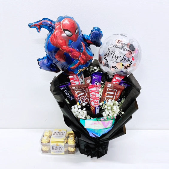 [SMALL BOUQUET] 5'' Personalised Balloon with Chocolate and Small Flower Bouquet + 16s Ferreo Rocher Box