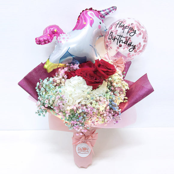 [MEDIUM+ BOUQUET] 5'' Led Personalised Balloon with Foil Balloon Flower Bouquet bloop-balloons.myshopify.com