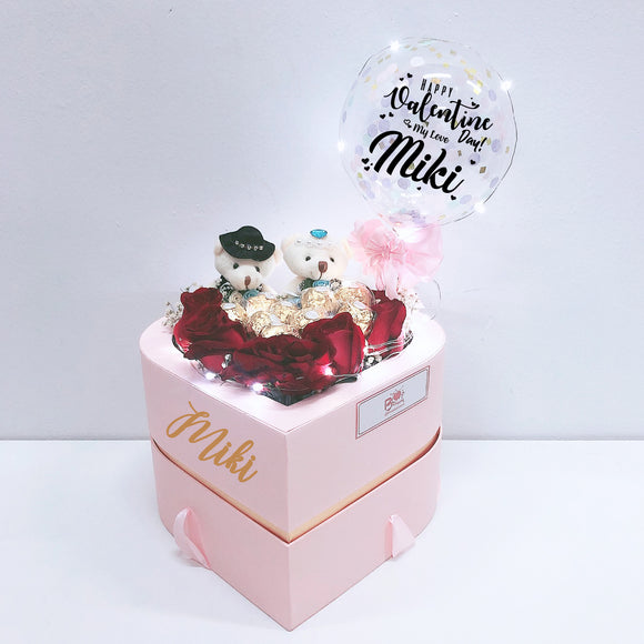 5'' Personalised Balloon with Two Tier Heart Shaped Flower Box bloop-balloons.myshopify.com