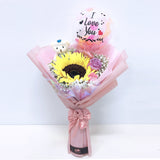 [SMALL BOUQUET] 5'' Personalised Balloon with Bear and Flower Bouquet bloop-balloons.myshopify.com