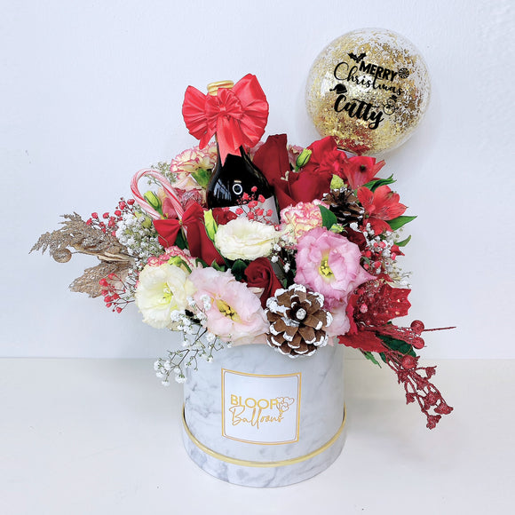 5''Personalised Balloon Premium Flower Box With Red Wine