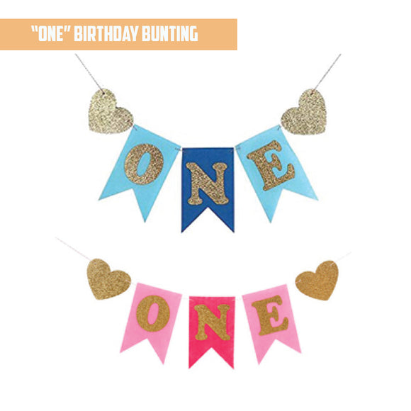 'ONE' Birthday Bunting Banner bloop-balloons.myshopify.com