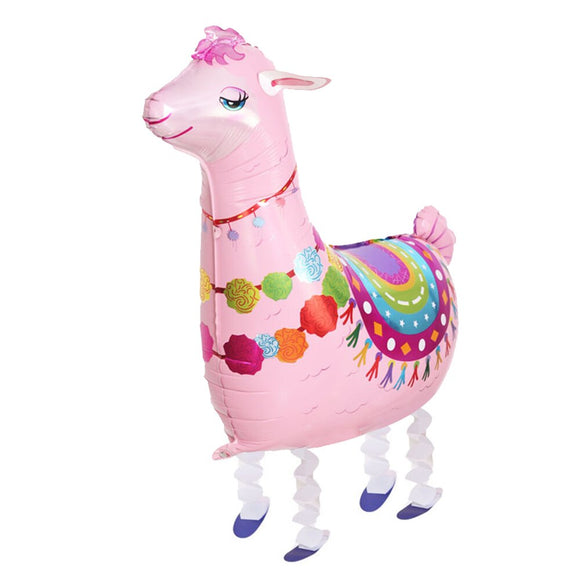 Walking Pet Animal Balloon - Pink Llama