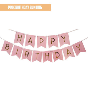 Happy Birthday Gold Pleated Pink Bunting Banner bloop-balloons.myshopify.com