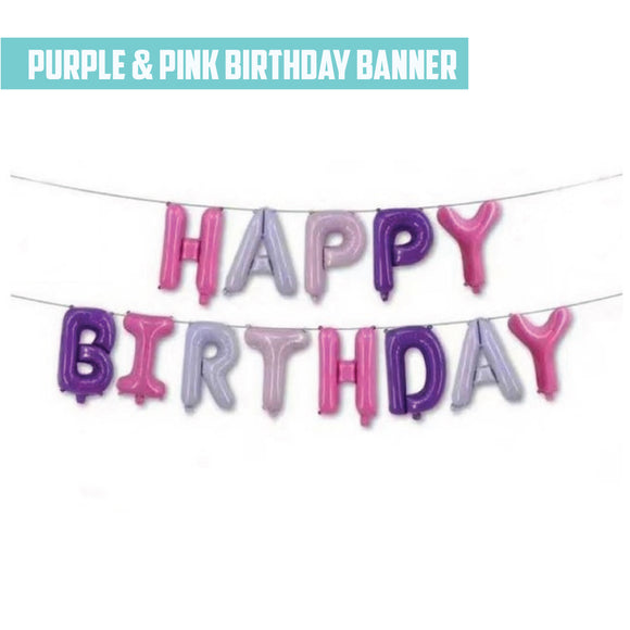 16'' Purple & Pink Foil Happy Birthday Banner