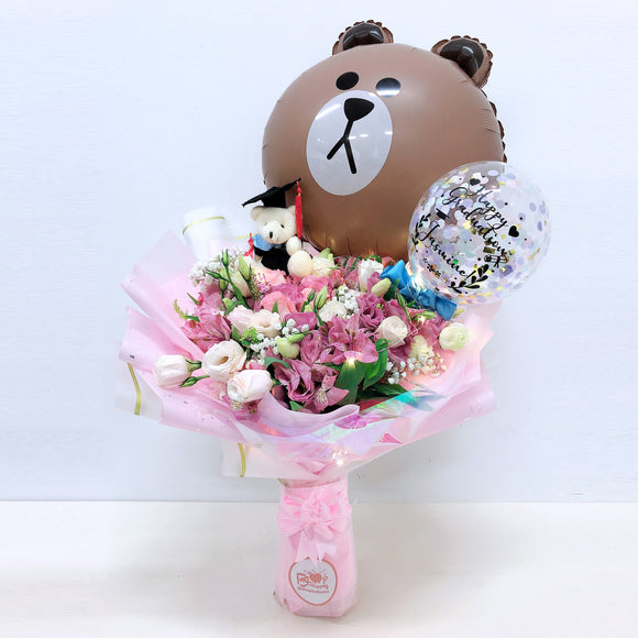 [LARGE+ BOUQUET] 5'' Led Personalised Balloon with Foil Balloon Flower Bouquet bloop-balloons.myshopify.com