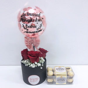 5'' Personalised Balloon Mini Flower Box With 16s Ferreo Rocher Box
