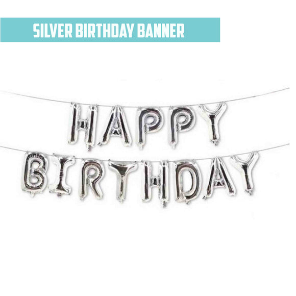 16'' Silver Foil Happy Birthday Banner