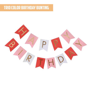 Happy Birthday Gold Pleated Trio Bunting Banner bloop-balloons.myshopify.com
