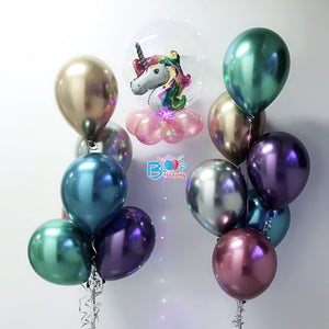 Unicorn in Led Balloon with Chrome Balloon Bundle Set bloop-balloons.myshopify.com