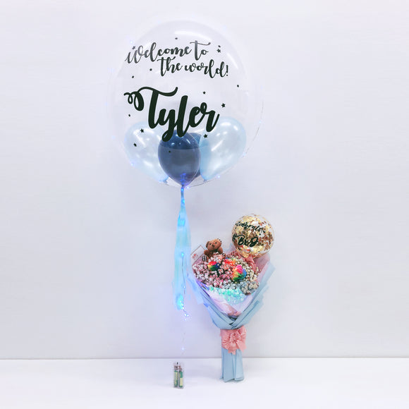 24'' Personalised Balloon with Medium Flower Bouquet - New Born