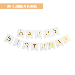 Happy Birthday Gold Pleated White Bunting Banner bloop-balloons.myshopify.com