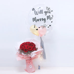 24'' Personalised Proposal Helium Balloon with Large Flower Bouquet bloop-balloons.myshopify.com