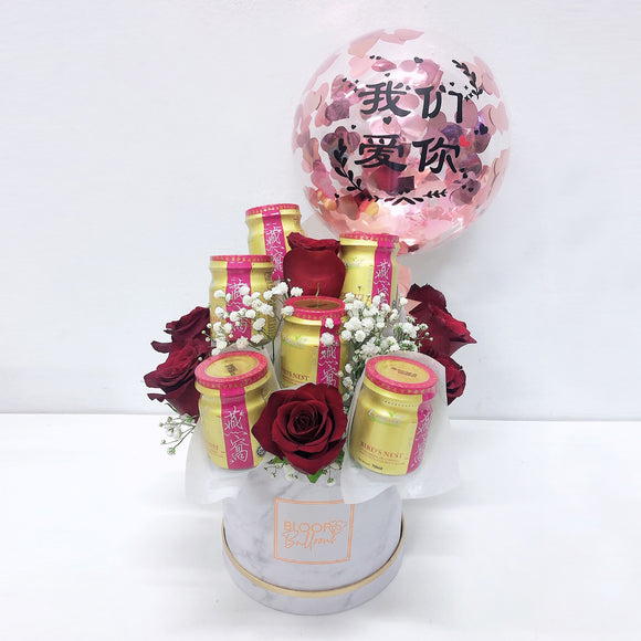 5''Personalised Balloon Bird Nest Flower Box
