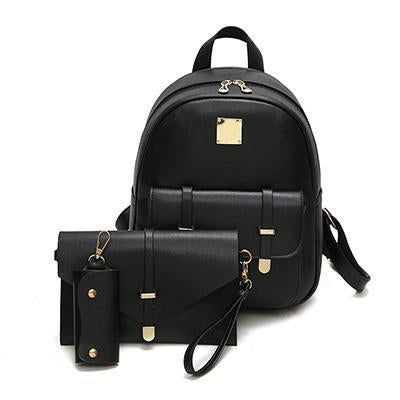 Fashion Composite Bag Pu Leather Backpack Women