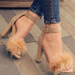 Women Sandals Real Fur Ankle Strap SALE