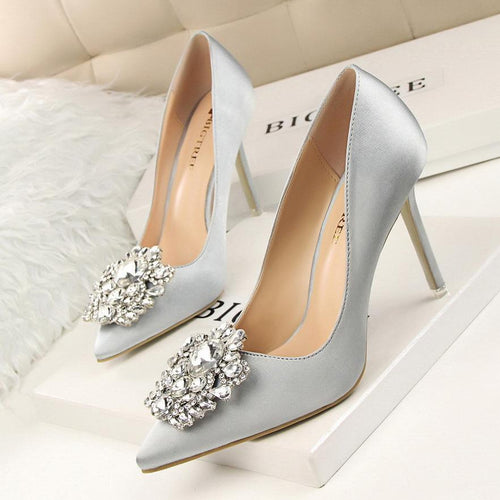 Women Pumps Elegant Rhinestone Silk Satin High Heels SALE