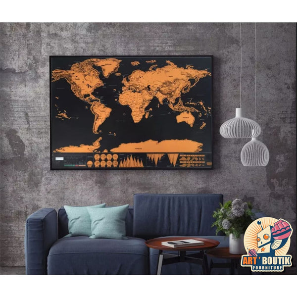 Art'Map - Carte du Monde  - Black Edition - Senzu Store