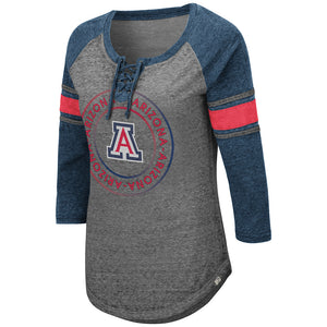 Arizona Wildcats Womens Carrie Lace Up - Heather Grey/Navy