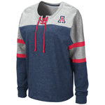 Arizona Wildcats Womens Manolo Lace Up Pullover - Navy/Heather Grey