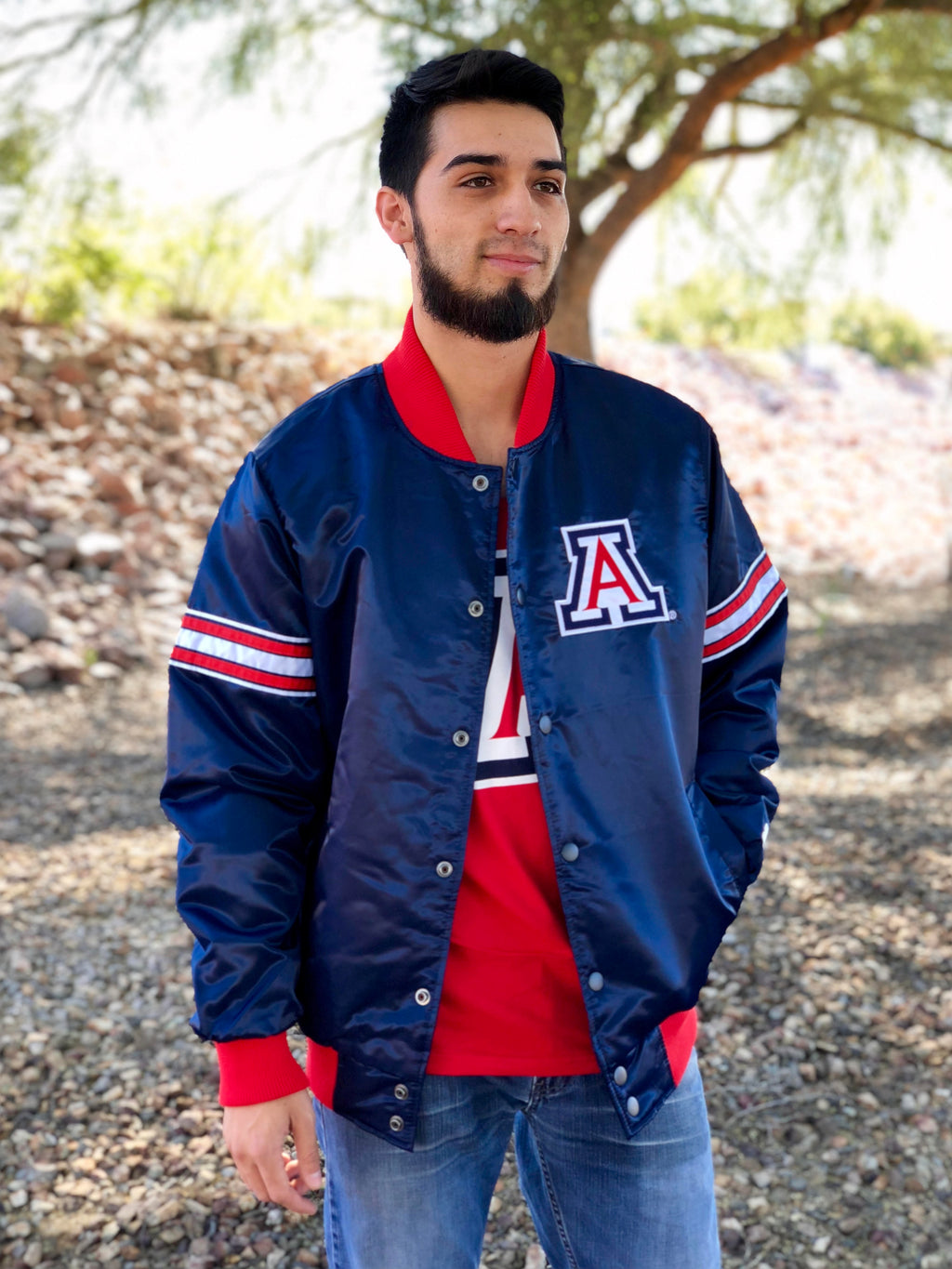 Arizona Wildcats The Draft Pick Varsity Satin Jacket Navy