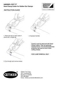Clamp Cutter for Oetiker® PEX Clamps and most Oetiker® Automotive Ear Clamps - SARGENT® #9257 CT