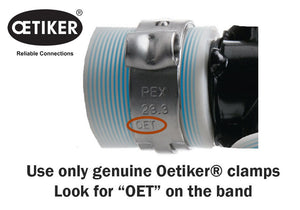 Oetiker invented the ear clamp in 1942 in Switzerland.  Genuine Oetiker tools are designed to close genuine Oetiker clamps.  Look for OET stamped on the clamp band to ensure you are getting genuine Oetiker.