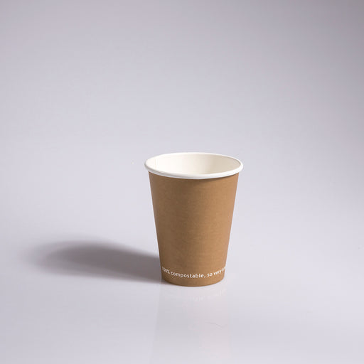 12oz Kraft single-wall compostable hot cups
