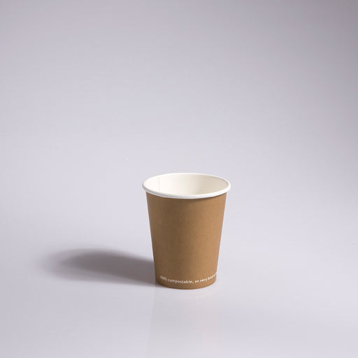 8oz Kraft single-wall compostable hot cups
