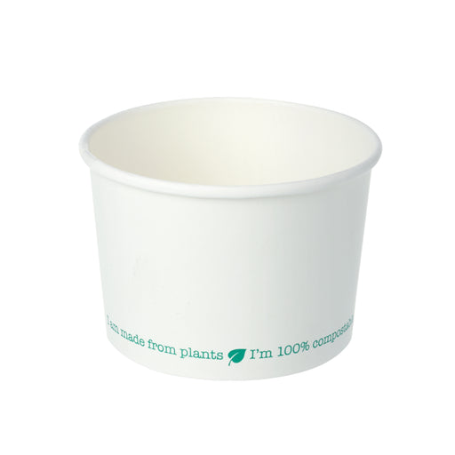 8oz White PLA-Lined Squat Soup Containers