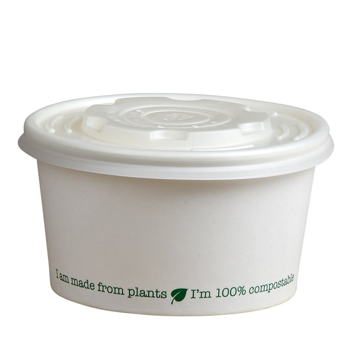 White CPLA Lid to Fit 8oz Squat Soup Containers