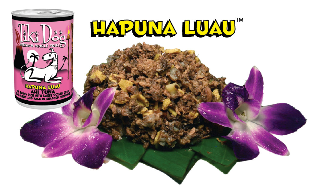 Tiki Dog Hapuna Luau Ahi Tuna on Brown Rice in Seafood Consomme Canned Dog Food