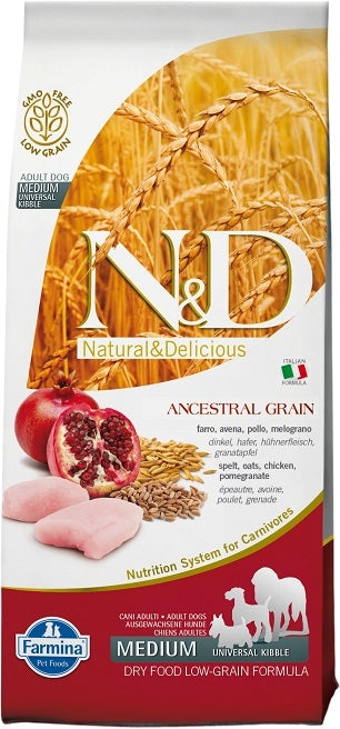 Farmina N&D Natural and Delicious Low Grain Medium Adult Chicken & Pomegranate Dry Dog Food
