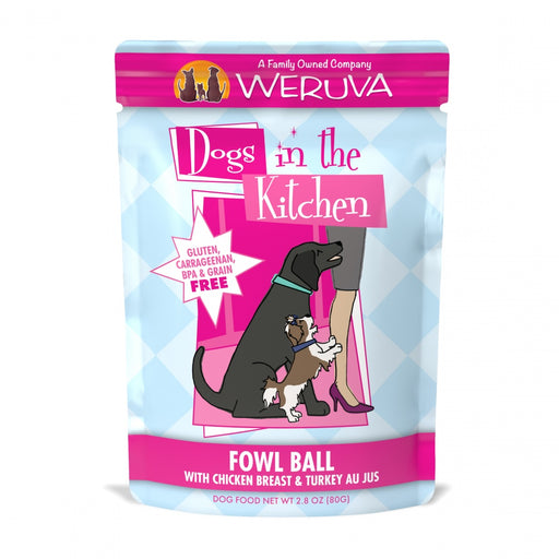 Weruva Dogs in the Kitchen Fowl Ball Grain Free Chicken and Turkey Dog Food Pouch