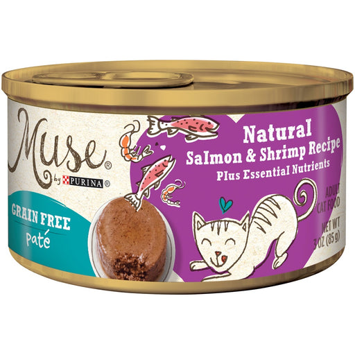 Purina Muse Grain Free Natural Salmon and Shrimp Pate Recipe Canned Cat Food